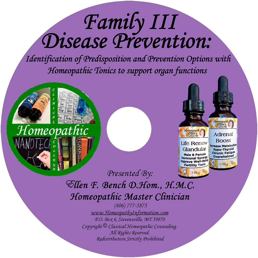 Homeopathic Disease Prevention Family 3 Class DVD